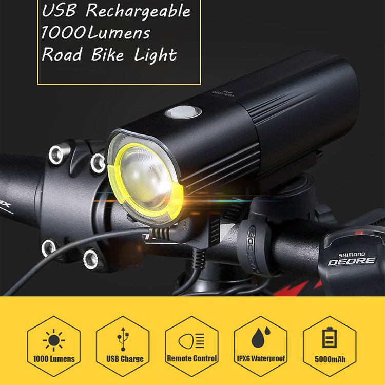 Usb Led Bike Light 1000lm Power Bank Head Light Prolites