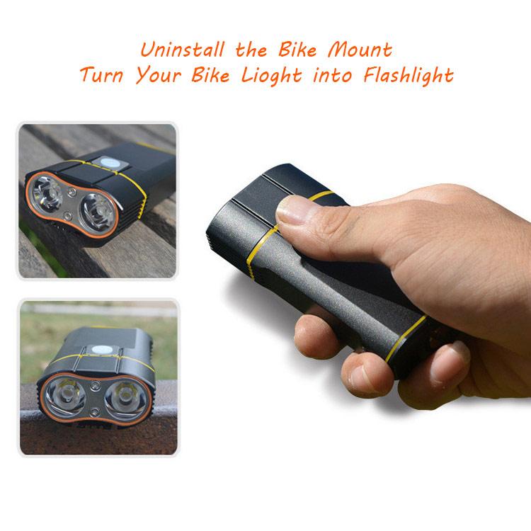 USB rechargeable bike light turn into flashlight