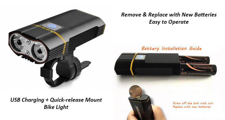 USB Bike Light with Removable Batteries